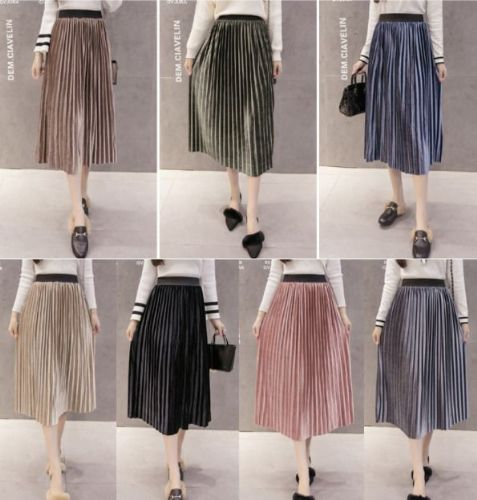Vintage Women Pleated Metallic Look Midi Shiny Skirt Velvet Long Skirt
